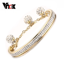 Buy Vnox Gold color Women Cuff Bangle Bracelet Full Crystal Stainless Steel Female Jewelry Beads & Heart for $6.74 in AliExpress store