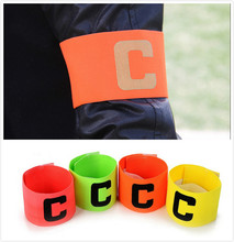 1pc Free shipping NEW Football Soccer C words armband Flexible Sports Adjustable Player Bands Fluorescent Captain Armband GYH(China)