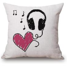 Manufacturers Direct Supply Latest Design Simple Music Headphones Linen Cotton Throw Pillow Cushion For Boys Gift(China)