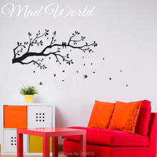 Mad World-Tree Branch falling leaves birds Wall Art Stickers Decal Home DIY Decoration Wall Mural Removable Decor Wall Stickers()
