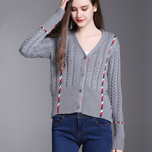2018 Spring Euro style V-Neck Thick Thread Panelled Dog Jacquard Weave Knitwear Cardigan Fashion Women All Matched Slim Jersey(China)