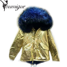 YOUMIGUE Golden Leather Shell Winter Artificial fur coat White Fur Lined Mrs Fur Parka Winter Cream Color Faux Fur Lined Parka