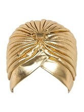 Metallic Turban Head Wrap Hat headband bandanaCap gold and silver color(China)