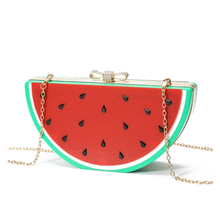 Special Evening Bag Watermelon Lemon Fruit Acrylic Bags Bow Small Women Evening Clutch Bag Patchwork Clutches Blosa 0124A