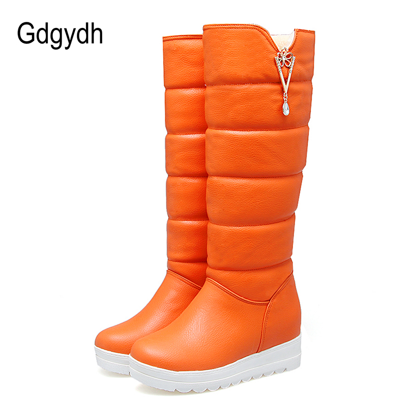 Gdgydh Winter Shoes Women Plush Warm Sexy Rhinestone 2017 New Arrival Height Increasing Wedges Ladies Snow Boots Knee High<br>