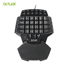 Delux T9 Single Hand Professional PC Game Keyboard Gamer USB Wired Mini Portable Game Key Board 47 Keys Double Space CF CS LOL(China)