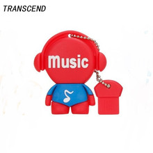 Transcend cartoon player player flash drive USB2.0 pen drive 4GB 8GB 16GB 32GB 64GB real capacity wedding gift free shipping(China)