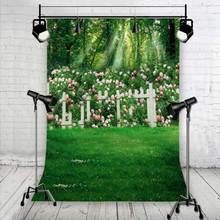 Grass fence photography backdrops vinyl stor photography photo props 5x7ft or 3x5ft Studio wedding background sunshine flower