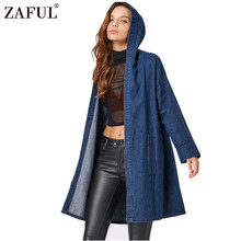 ZAFUL Autumn Vintage Women Jackets Long Drop Shoulder Hooded Denim Coat with Pockets High Quality Hot Sale(China)