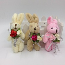 2017 8cm x12pcs Lovely Plush Jointed Bunny Rabbit With Flower Bag Jewel Craft/baby shower/decoration/bow Soft Toys