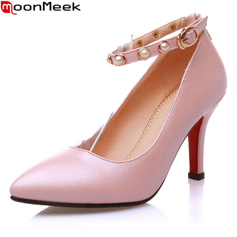 MoonMeek 2018 new sexy female fashion pumps pointed toe thin heels shallow with buckle red black colour party woman shoes<br>