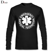 Men's Male Designed Emergency Medical Technician Ambulance Logo Shirt Custom Long Sleeve Boyfriend's Base T Shirts Men(China)