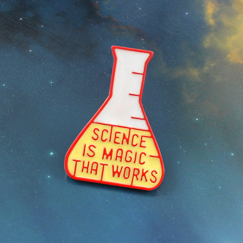 geekoplanet.com - Science is Magic that Works Experiment Bottle Brooch Badge