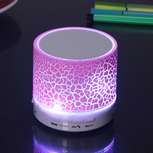 Portable Bluetooth Stereo Speakers Smart LED Light Crack Mini Wireless Bluetooth Speaker Support TF card/USB flash drive/FM(China)