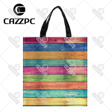 Vintage colorful wood Pattern Print Custom individual waterproof Nylon Fabric shopping bag gift bag Pack of 2