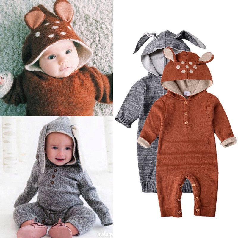 Cute Baby Cartoon Romper Cotton Wool Jumpsuit Baby Knitting Romper Long Sleeve Wool Knitting cotton infant Jumpsuit<br>