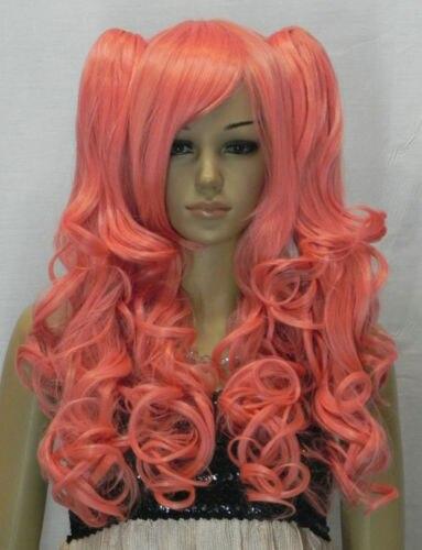 shun Orange-pink Long Wavy Lolita Lori Split Cosplay Wig USPS FastShipping to USA j0456<br><br>Aliexpress