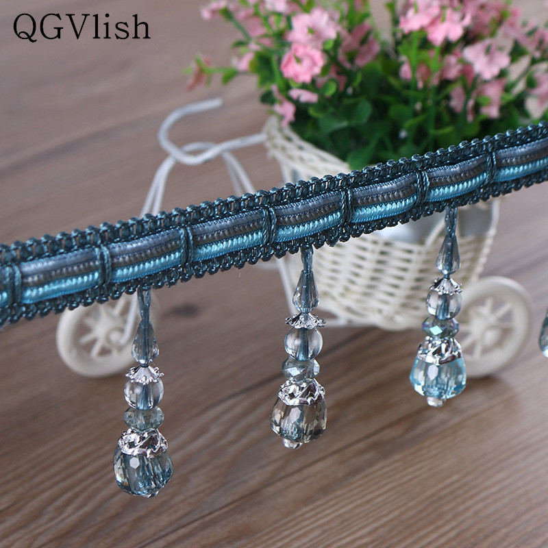 Qgvlish 12m Wood Beads Curtain Lace Trim Tassel Diy Sewing Wedding Sofa Stage Lamp Edge Decor Curtain Accessories Lace Ribbon Bright In Colour Home Decor Curtain Decorative Accessories