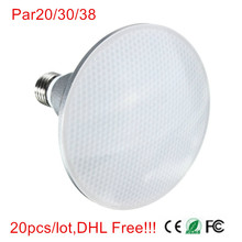20pcs/lot,E27 9W/12W/15W PAR20 PAR30 PAR38 Waterproof IP65 LED Spot Light Bulb Lamp Indoor Lighting Dimmable AC85-265V DHL Free!