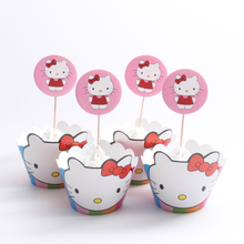 24pcs/lot Hello Kitty Paper Cupcake Wrappers Toppers For Kids Party Birthday Decoration Cake Cups(12 wraps+12 topper)