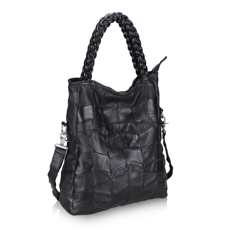 Genuine Leather Women Handbag Patchwork Natural Sheepskin Shoulder Bag Famous Brand Women Bag Casual Tote Sac<br><br>Aliexpress