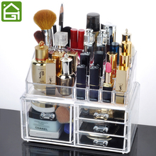 Acrylic Makeup Jewelry Storage Container 4 Compartment Cosmetic Jewelry Drawer Desk Organizer(China)