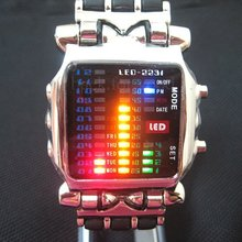 New Fashion LED Light Dot Matrix Digital Colorful Lamp Display Mens WATCH NR