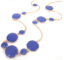 MOODPC Free Shipping New big & small round circle dark blue epoxy metal Gold Chain women long necklace for holiday gift(China)