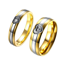 Fashion Wedding Brand Alliance Ring Gold Color Pair Rings Female Set For Women Men Couples Heart Engraved Ring Lady Design