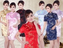 New ladies short sleeve sexy red cheongsam qipao dresses Qi pao Cheongsam vestidos party Evening Dress Chinese traditional dress(China)