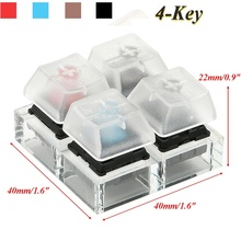4 Key Caps For Cherry MX Acrylic Caps Mechanical Keyboard Switches Tester Sampler Clear Translucent Keycaps Kit Testing Tool