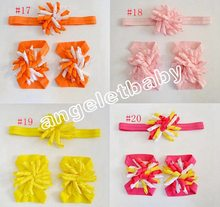 20 combo korker bow Head band Flower + Hand feet Flowers set Christening Accessories triple corker loop hair Bands PD010(China)