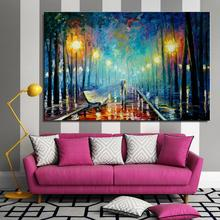 Woods road rain pedestrian umbrella bench street lamp Landscape Europe Canvas Home decor Spray drawing Oil Painting design