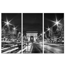 Paris Wall Art Arch of Triumph Champs Elysees Night Picture City Streetlights Canvas Modern Architecture Building Painting(China)