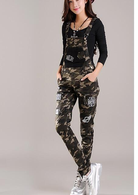2017 Spring Student Young Womens Denim Jumpsuit Camouflage elastic harem pants plus size skinny jean overalls badge appliqueОдежда и ак�е��уары<br><br><br>Aliexpress