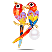B556 Cute Double Parrots Brooches For Women Gold And Silver Color Jewellery Rhinestone Pins And Brooches Luxury Collar Pin(China)