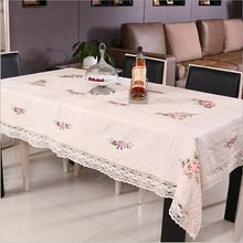 Classic Ribbon Embroidered Cotton Westernfood Table Cloth   Wedding&Banquet Table Cloth  Multi-function Dust-proof Cover