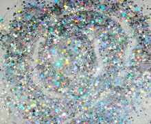 50gram/bag x Mixed Holographic Laser Silver Colors(Glitter Powder+Round)Shape for Nail Art Decoration-Free Shipping(China)