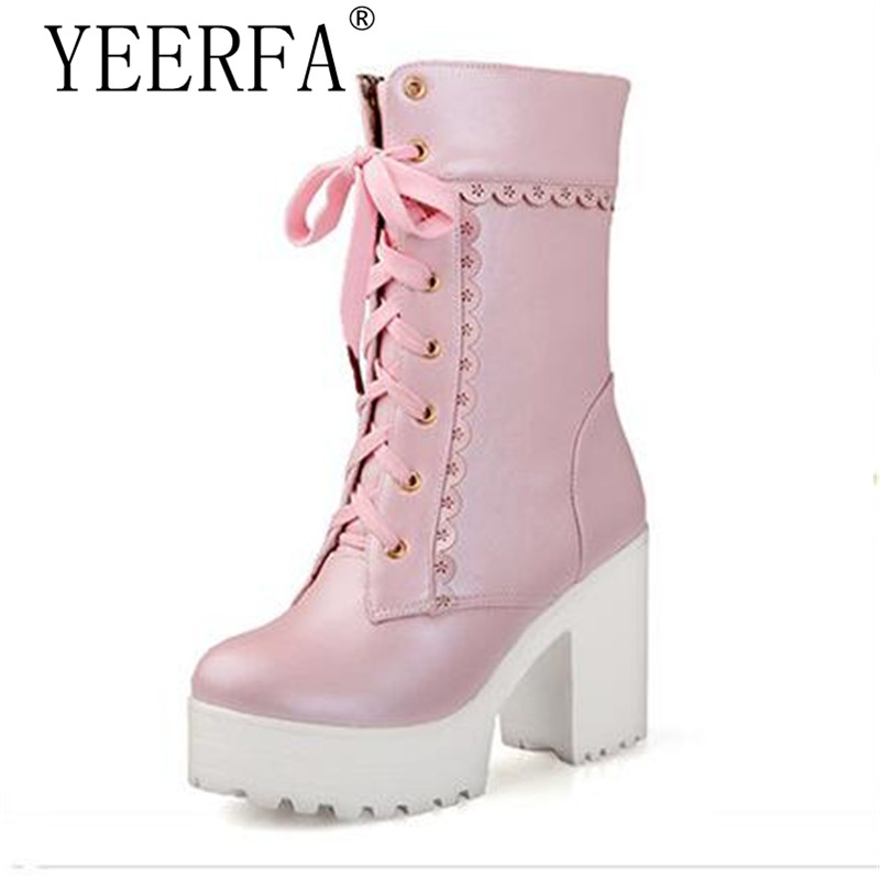 YEERFA Lolita pink black lace up tied high heel student shoes sweet lady cosplay platform chunky block mid calf short boots<br>