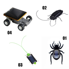 1pcs Mini Accessories Solar Powered Spider Cockroaches Grasshopper Car Grasshopper Educational Gadget Toy For Children Gift(China)