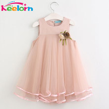 Keelorn Girls Dress 2017 Brand Princess Dresses Sleeveless Appliques Floral Design for Girls Clothes Party Dress 3-7Y