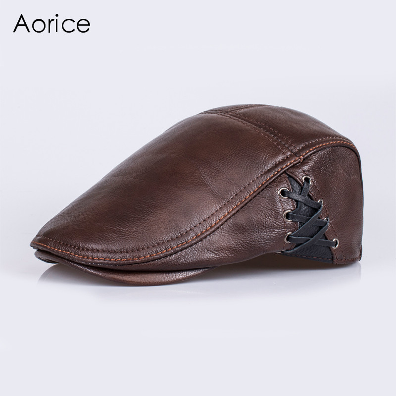 Aorice 2017 Winter Genuine Leather Baseball Cap Hat Mens Real Sheep Skin Leather Adult Patchwork Adjustable Hats Caps HL111<br>