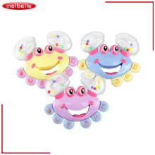 30Pcs/lot Crab hand bell baby rattles toys for developmental baby train baby's sound and color perception wholesale