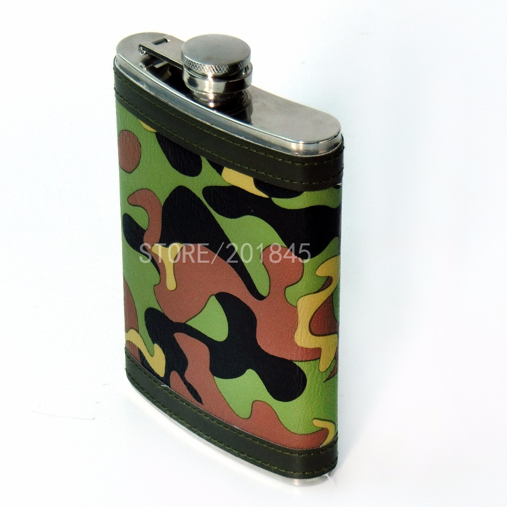 5Pcs Durable Camouflage Wine Pot 9oz Stainless Steel For Drinker Hip Flash Flagon Whiskey Portable Drinkware Cloth Wrapped <br>