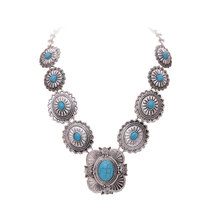 High quality tibetan style women statement vintage resins big Synthetic stone stone necklaces pendants boho ethnic jewelry