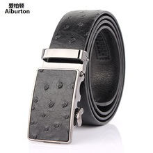 Luxury cowskin male Belt Ostrich pattern designer belts men high quality Automatic big buckles 5 colors unisex strap fashion