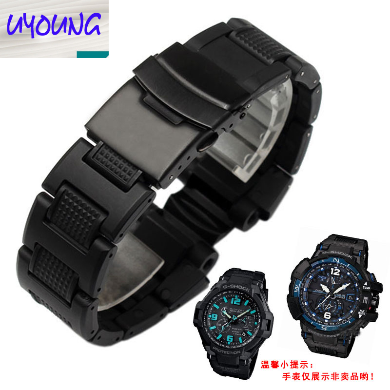 UYONG The waterproof wristband is fitted with a double safety hook for 22mg - shockgw-a1100ga1400 black Watchband 22mm<br>