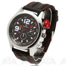 2016 Top Brand V6 Fashion Sport Men Quartz Watches Military Black Leather Strap Male Best Gift Wristwatches