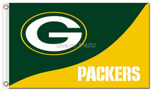 Green bay packers logo and wordmark Flag 3x5 FT 150X90CM NFL Banner 100D Polyester Custom flag grommets 6038,free shipping(China)