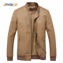 Covrlge Male Leather Jacket Fashion New Faux Leather Jackets Coats Brand Pilot Leathers Jacket Men's Casual Rock Overcoat MWP010